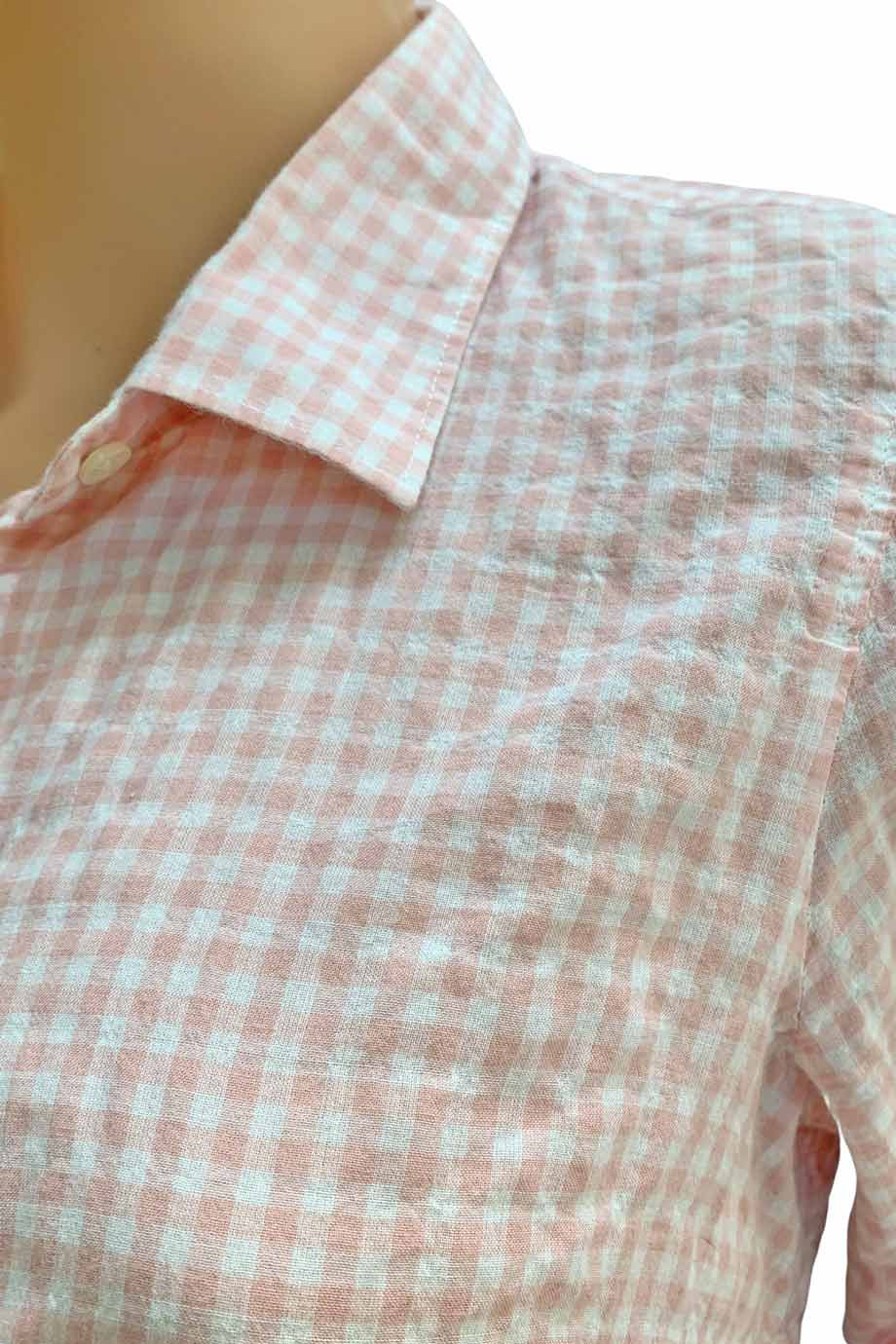 J Crew Pink Cotton Gingham Long Sleeve Button Up Perfect Shirt / Sz 6