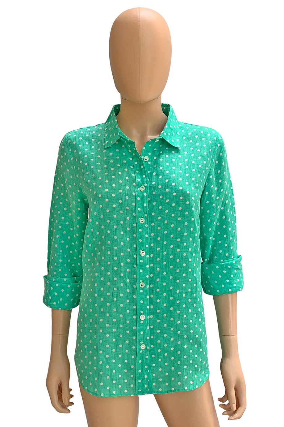 J Crew Polka Dot Linen Long Sleeve Button Front Perfect Shirt / Sz 6