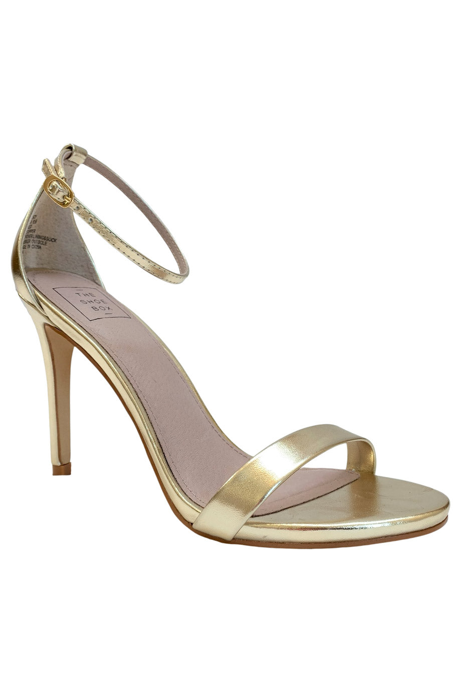The Shoe Box NYC Metallic Gold Strappy High Heel Sandals / Sz 8.5