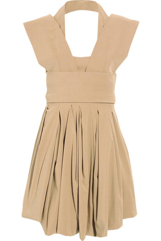 Preen Structured Beige Stretch Twill Audrey Dress / Sz S - Style Therapy  - 1