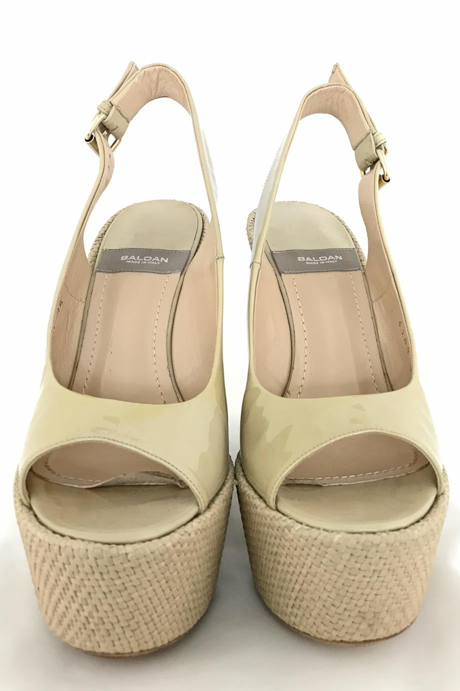 Baldan Beige Patent Leather Open-Toe Platform Wedges / Sz 36-Style Therapy