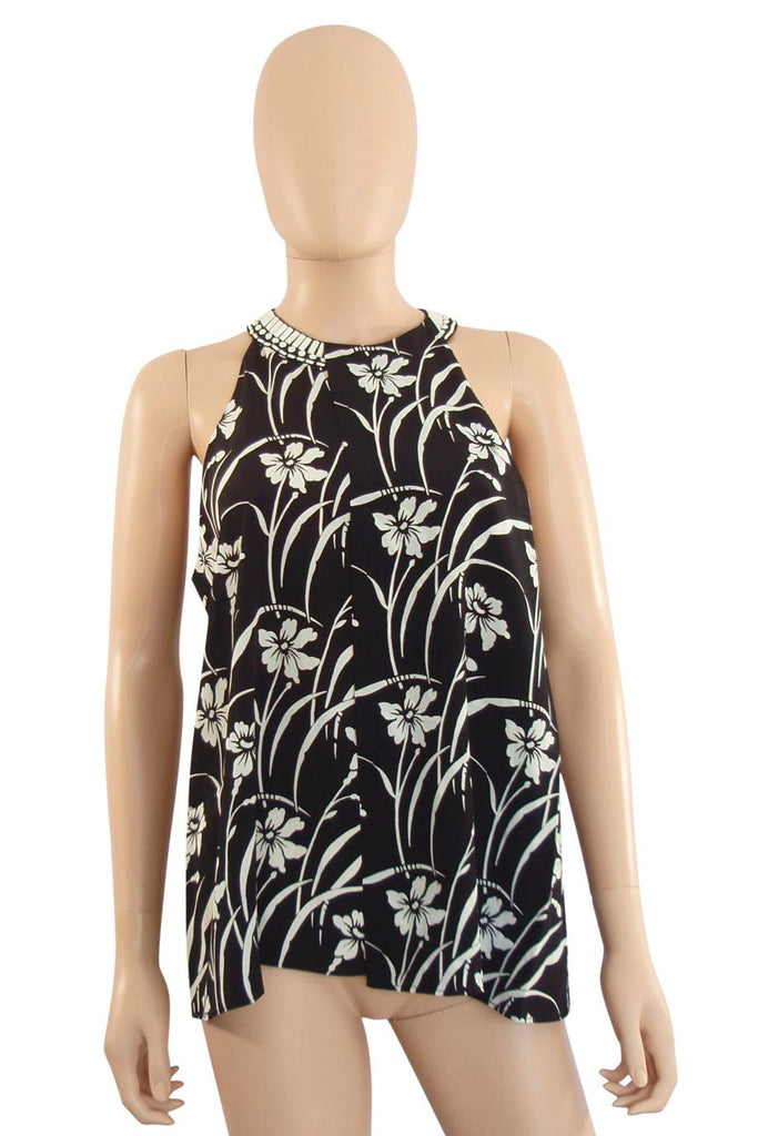 Elizabeth and James Beaded Black Floral Etta Top / Sz XS