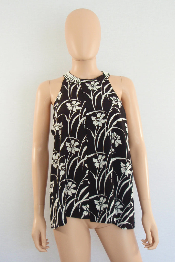 Elizabeth and James Beaded Black Floral Etta Top / Sz XS - Style Therapy  - 2