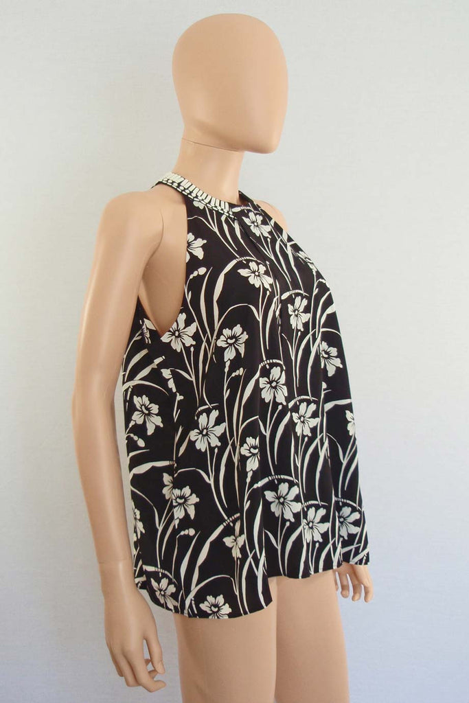 Elizabeth and James Beaded Black Floral Etta Top / Sz XS - Style Therapy  - 3