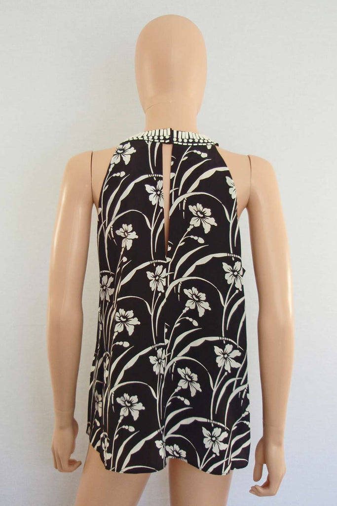 Elizabeth and James Beaded Black Floral Etta Top / Sz XS - Style Therapy  - 5