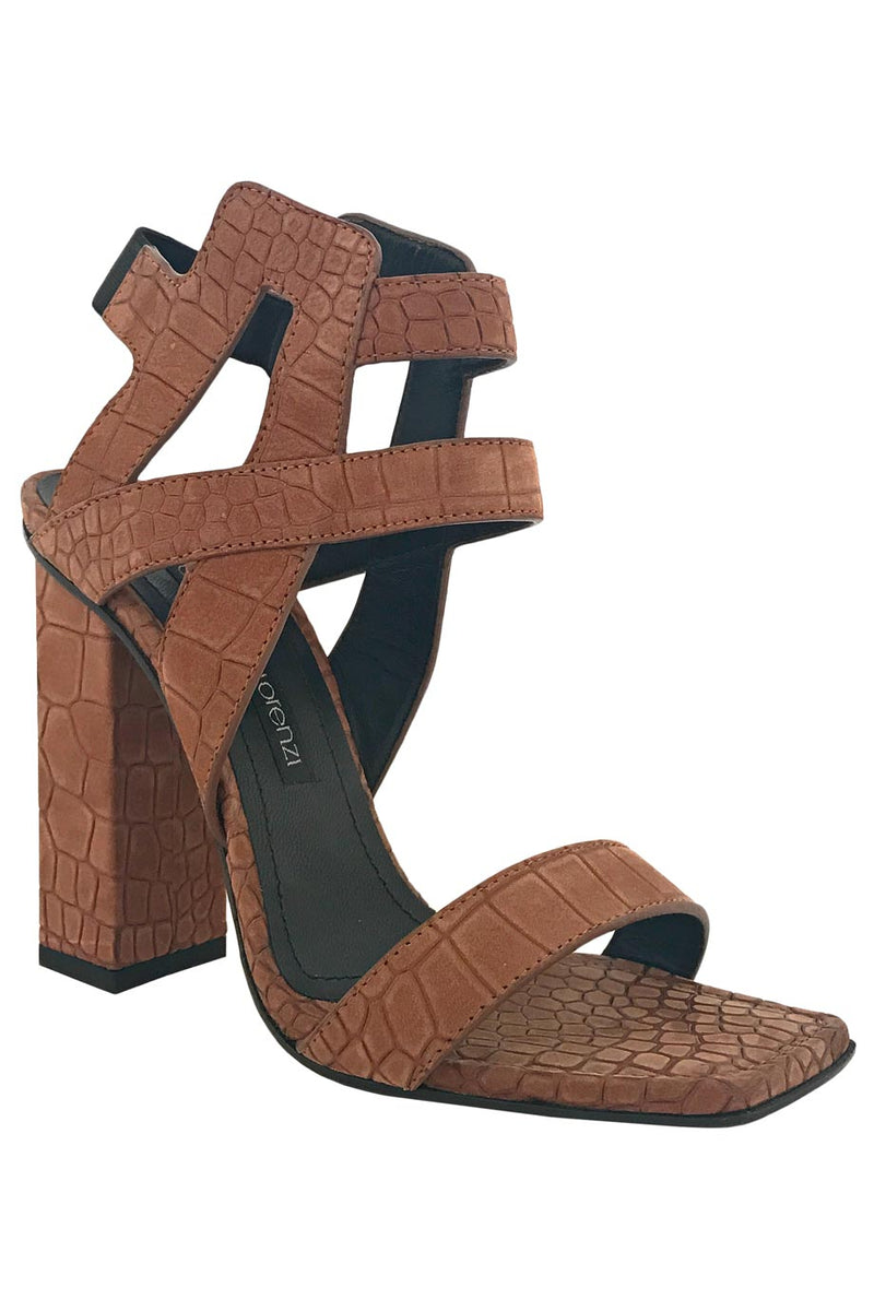 Gianmarco Lorenzi Brown Croc-Embossed Leather Sandals / Sz 36-Style Therapy