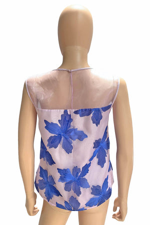 Rebecca Taylor Blue Floral Embroidered Sleeveless Organza Top / Sz 6