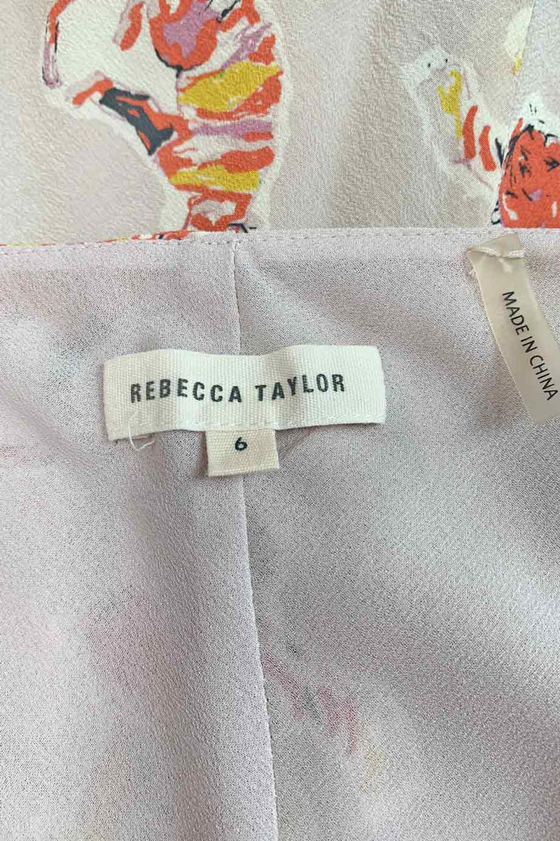 Rebecca Taylor Pink Multi Tiger Print Silk Ruffled Camisole Top / Sz 6