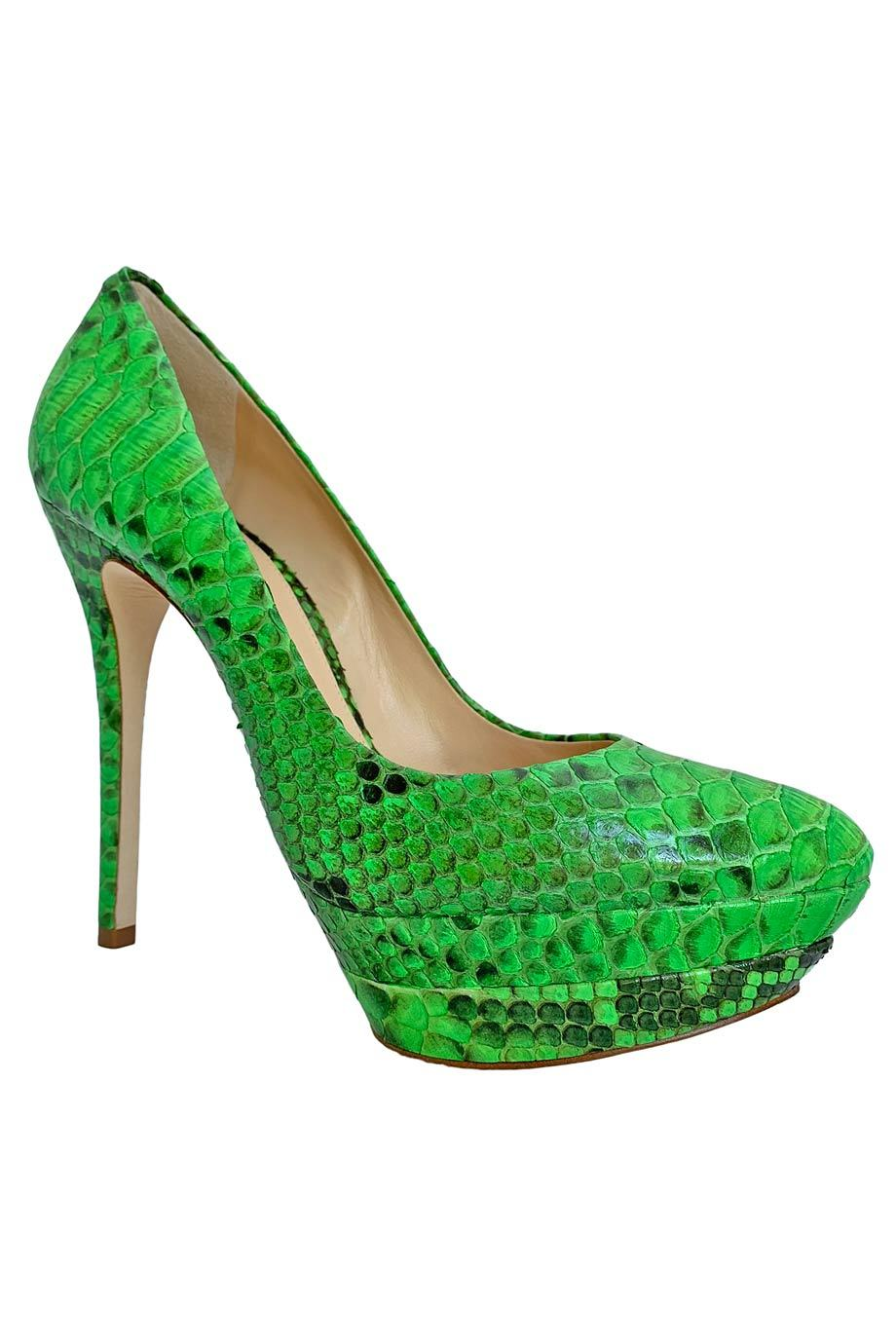 Alexandre Birman Neon Green Python High Heel Platform Shoes / Sz 9