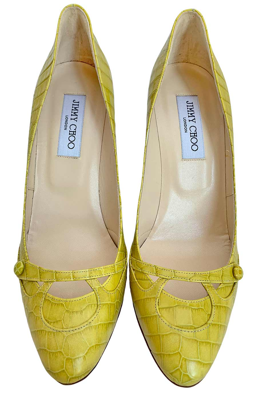 Jimmy Choo Yellow Croc Embossed Cody Cap Toe High Heel Pumps / Sz 39