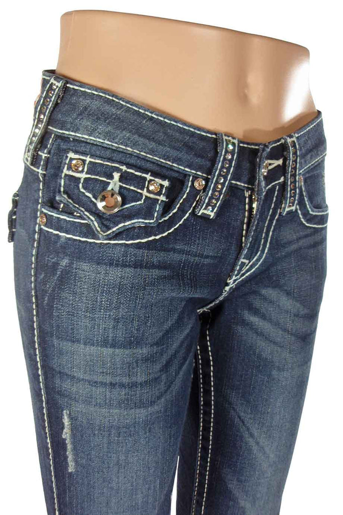 "True Religion Crystal Trim ""Disco Billy T"" Straight Leg Jeans / Sz 25 - Style Therapy  - 2"