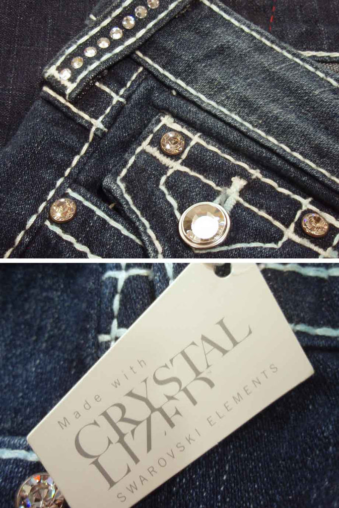 "True Religion Crystal Trim ""Disco Billy T"" Straight Leg Jeans / Sz 25 - Style Therapy  - 5"