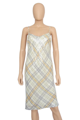 W By Worth Plaid Sequin Spaghetti Strap Cocktail Dress / Sz 2