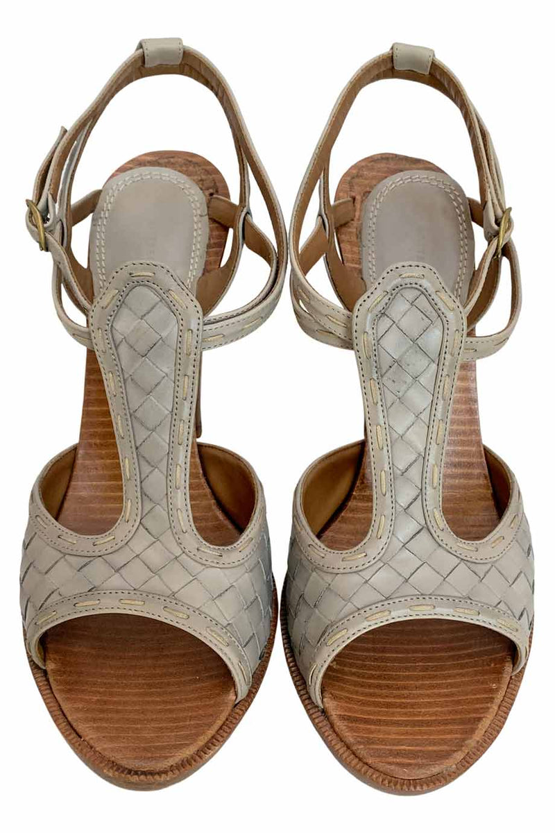 Bottega Veneta Gray Intrecciato Leather Platform Heel Sandals / Sz 39