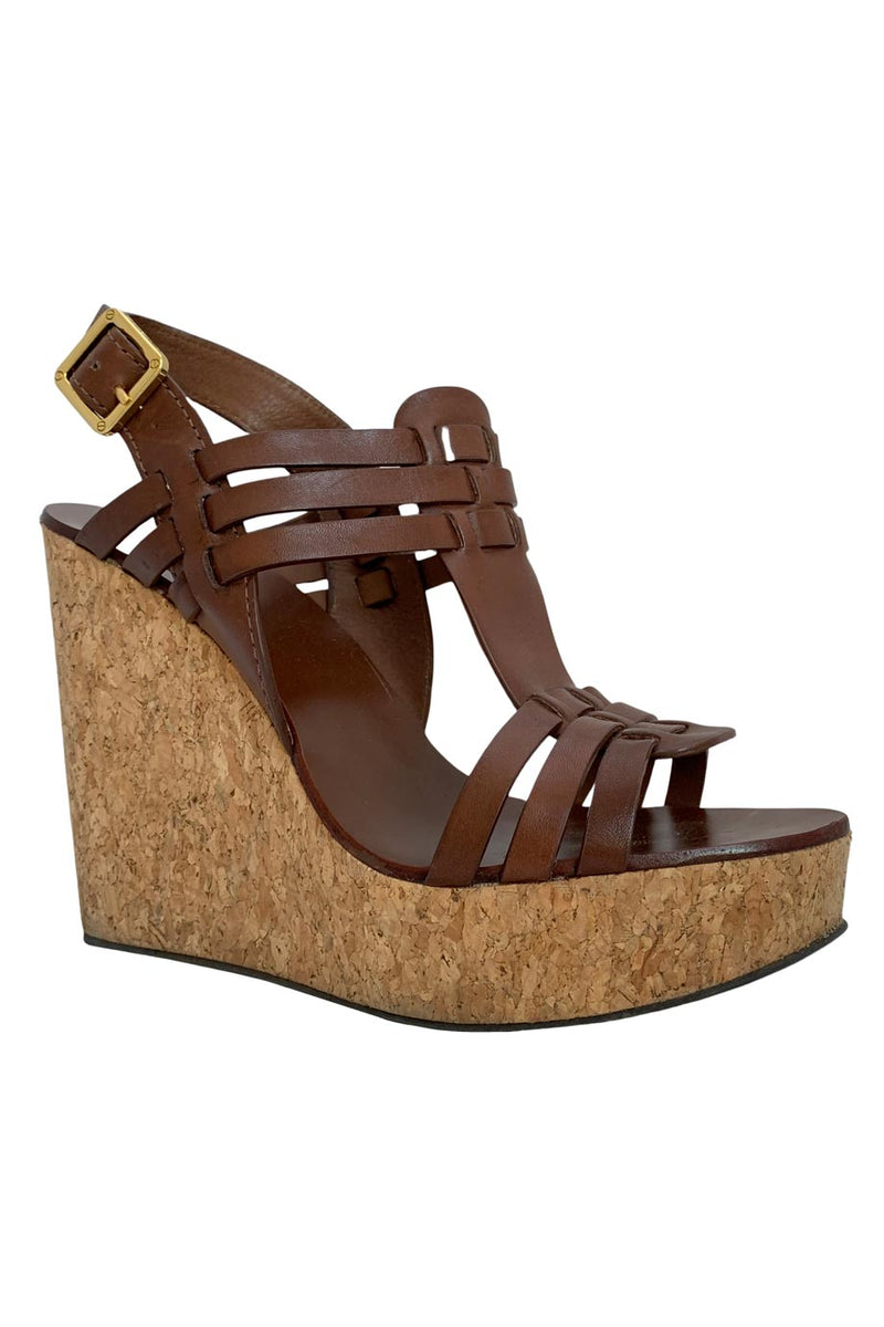 Tory Burch Brown Woven Leather Leslie Wedge Sandals / Sz 8.5