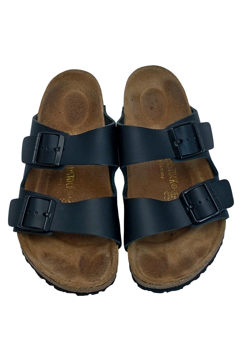 Birkenstock Black Leather Arizona Two-Strap Slide Sandals / Sz 39