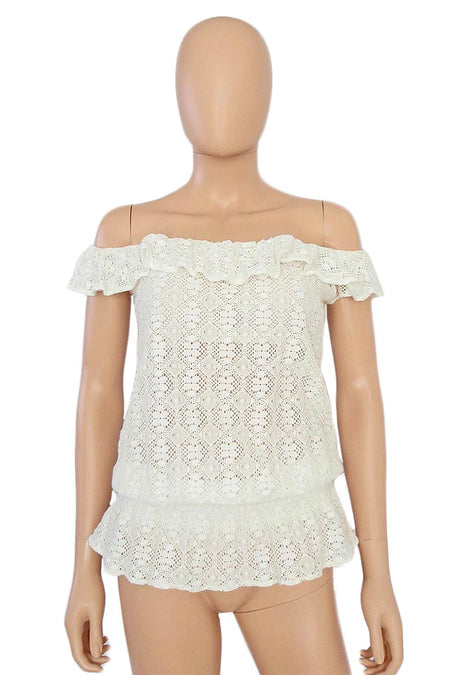 Michelle Mason Ivory Silk + Sheer Lace Panel Blouse / Sz 4