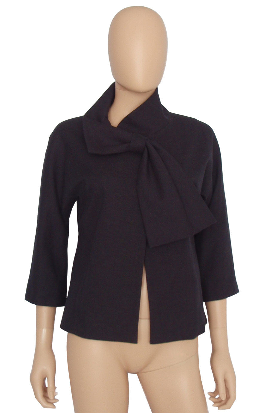 Lela Rose Black Cotton-Linen Tie Front 3/4 Sleeve Jacket / Sz 4 - Style Therapy  - 1