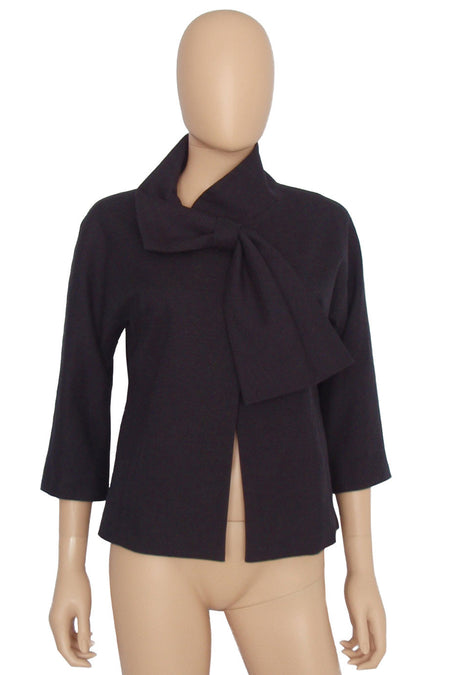 Elizabeth and James Black Pleated Chiffon Leland Blouse / Sz S