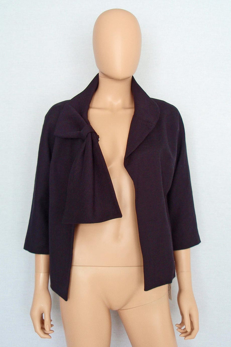 Lela Rose Black Cotton-Linen Tie Front 3/4 Sleeve Jacket / Sz 4 - Style Therapy  - 2