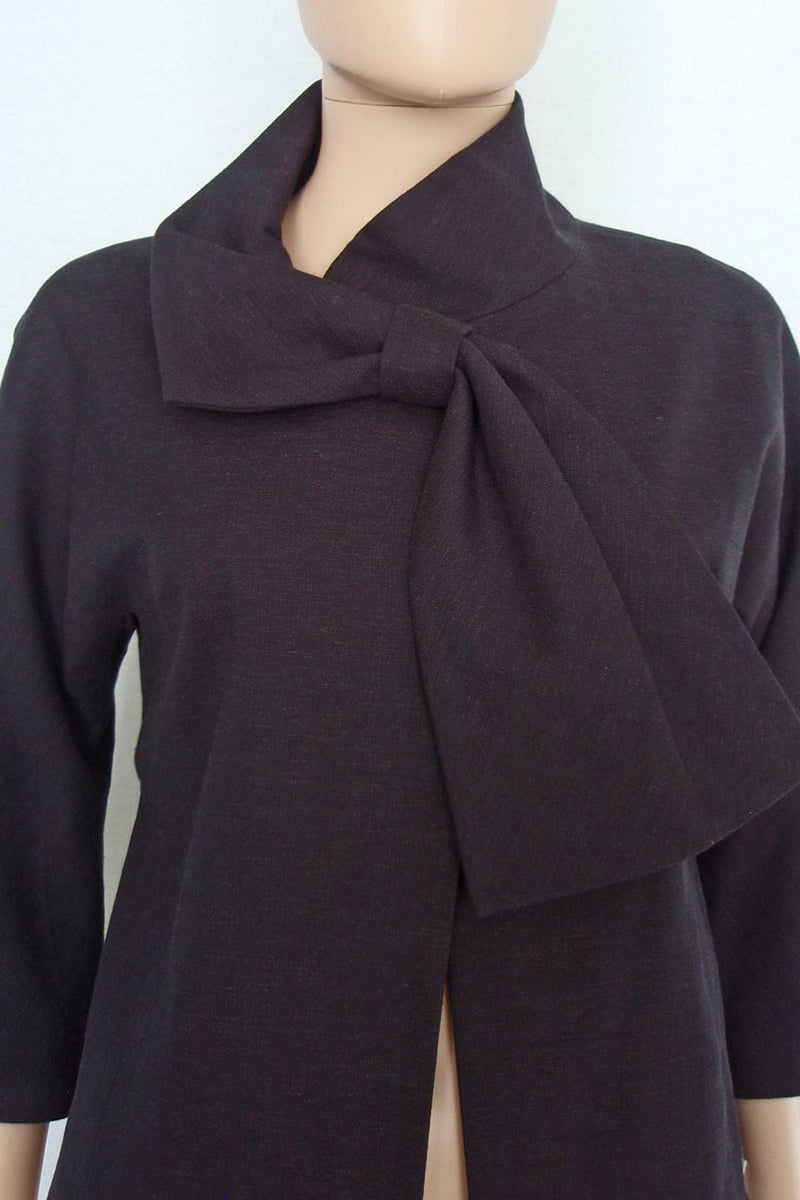 Lela Rose Black Cotton-Linen Tie Front 3/4 Sleeve Jacket / Sz 4 - Style Therapy  - 3