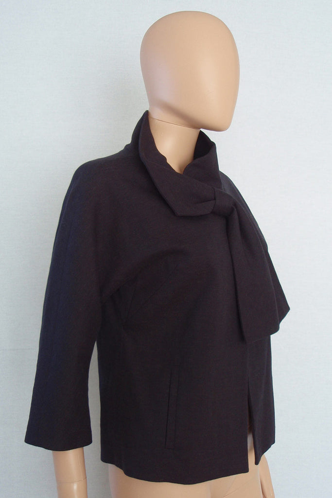 Lela Rose Black Cotton-Linen Tie Front 3/4 Sleeve Jacket / Sz 4 - Style Therapy  - 4