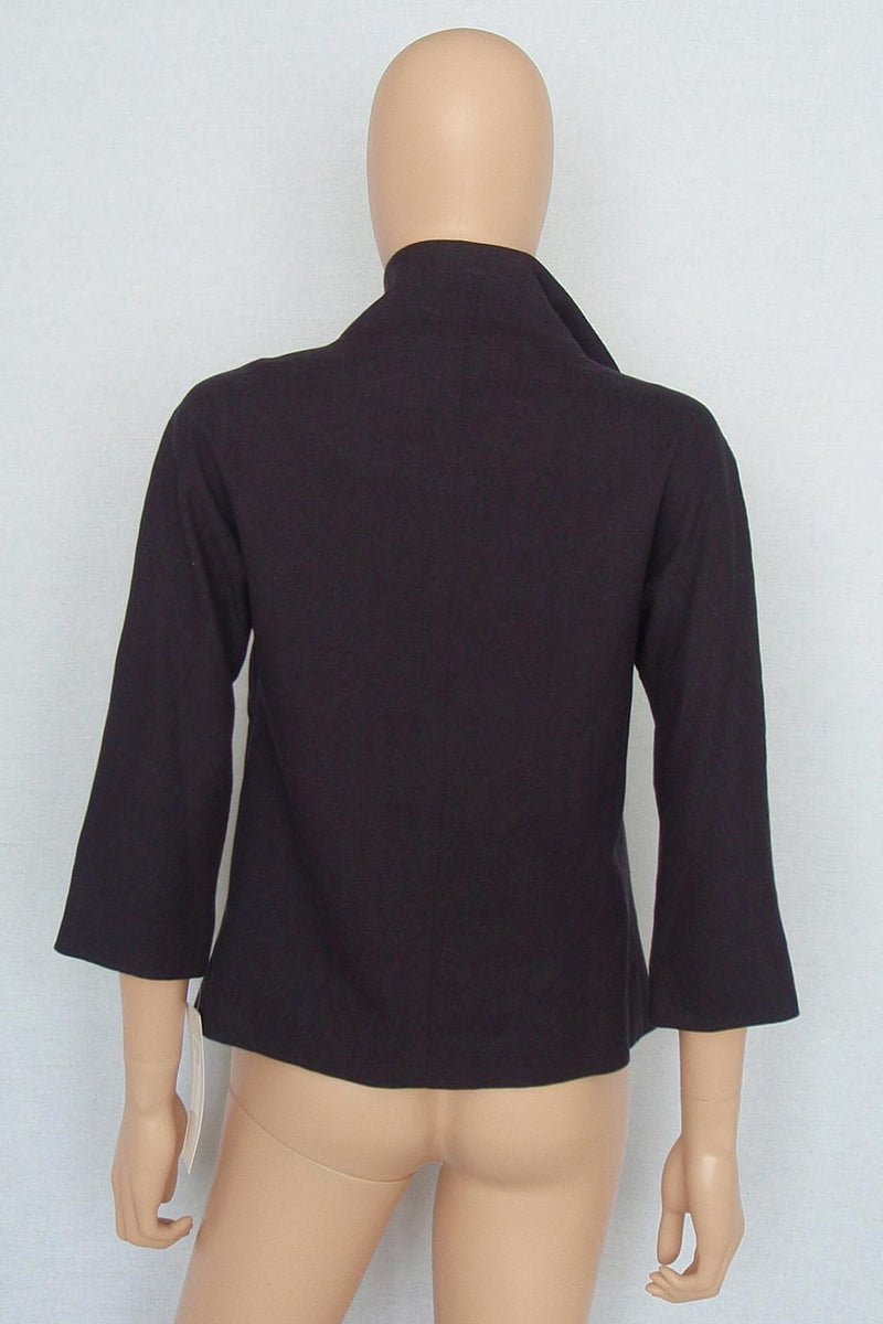 Lela Rose Black Cotton-Linen Tie Front 3/4 Sleeve Jacket / Sz 4 - Style Therapy  - 5