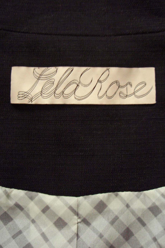 Lela Rose Black Cotton-Linen Tie Front 3/4 Sleeve Jacket / Sz 4 - Style Therapy  - 6
