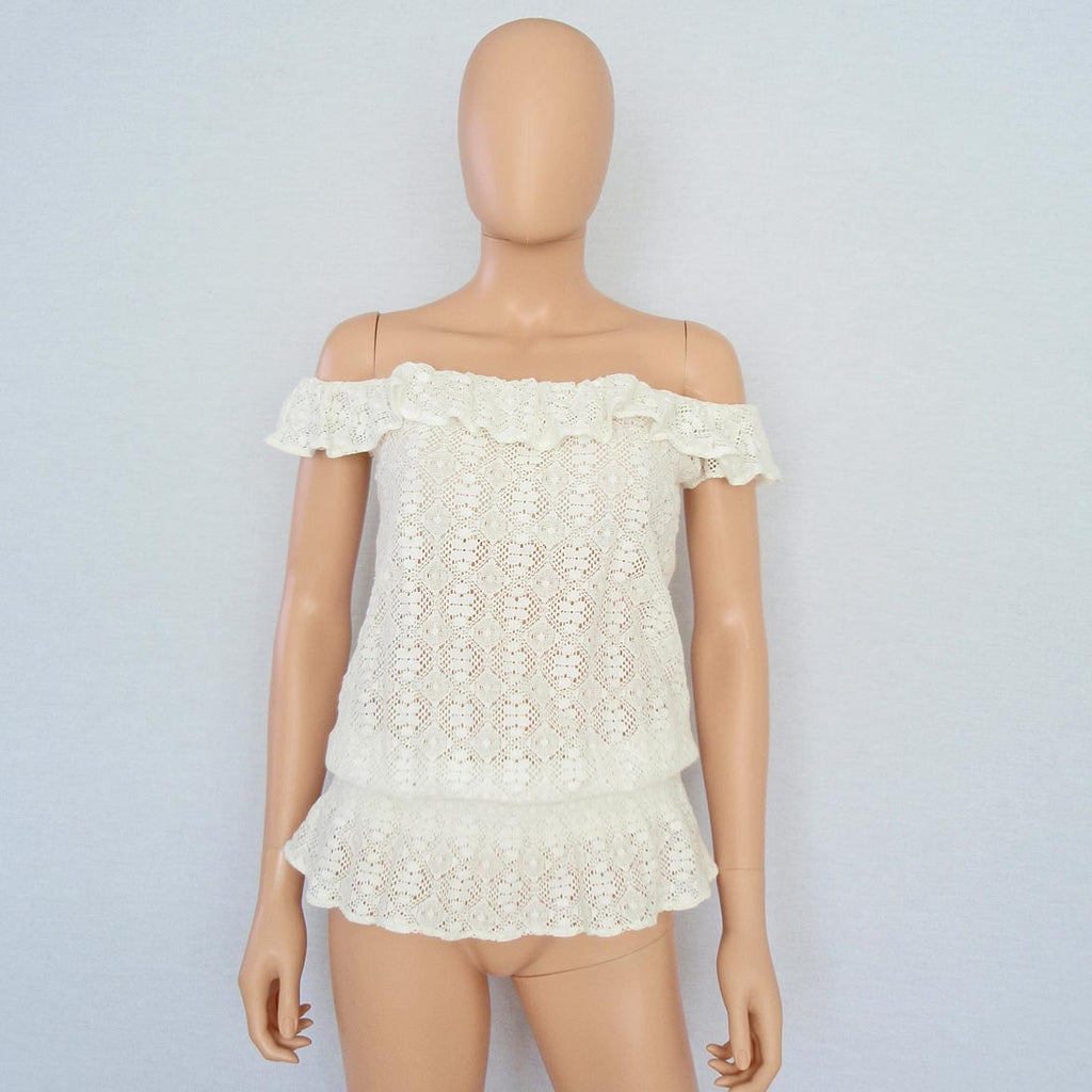 Ralph Lauren Ivory Lace Off-Shoulder Peplum Top / Sz S-Style Therapy
