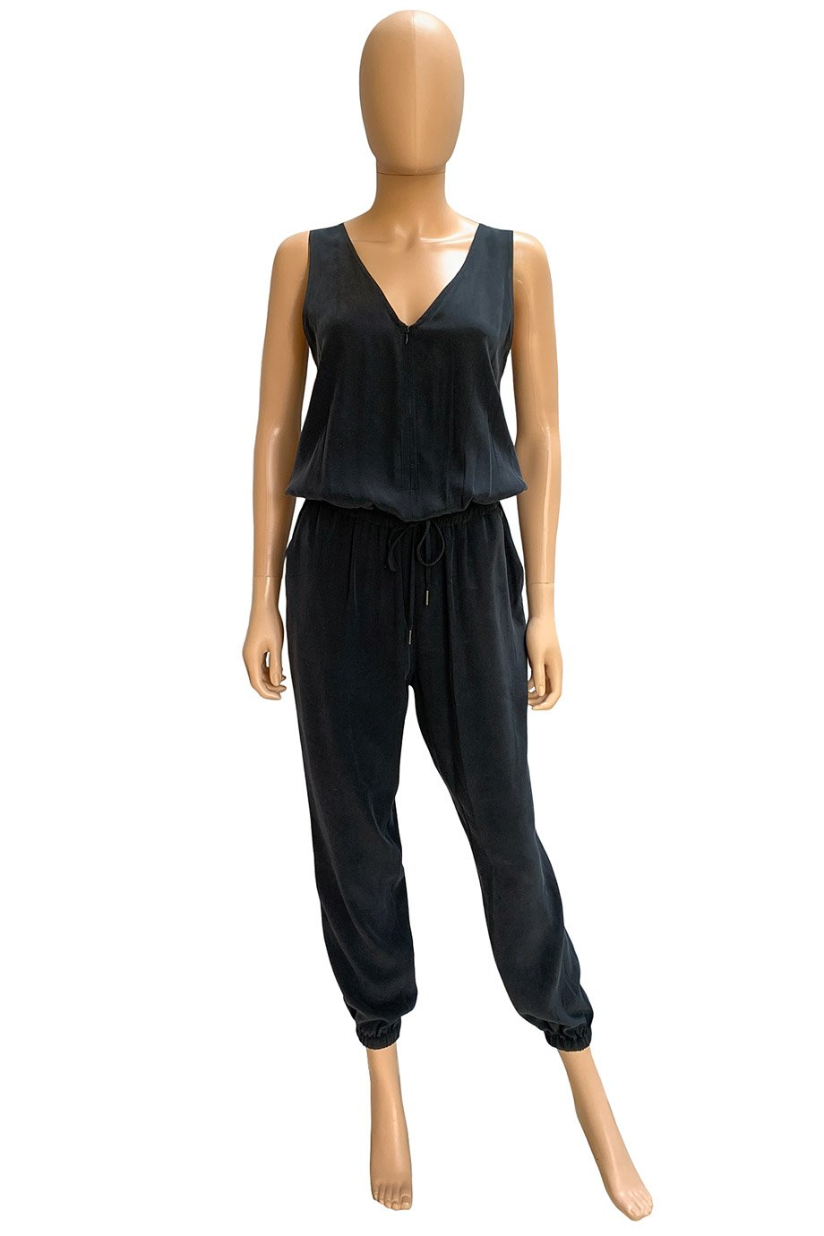 Frame Black Silk Charmeuse Sleeveless Le Zip Jumpsuit / Sz S