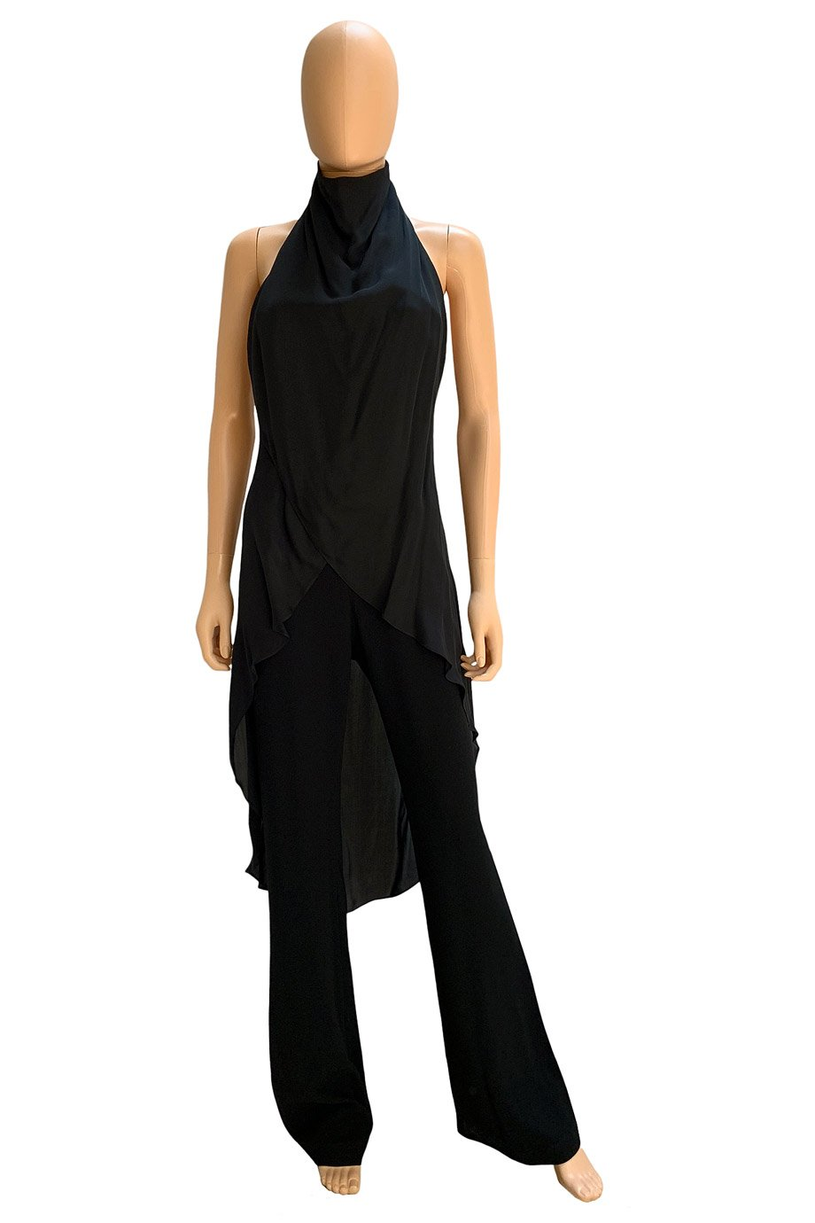 Haute Hippie Layered Black Silk + Crepe Halter Jumpsuit / Sz 4