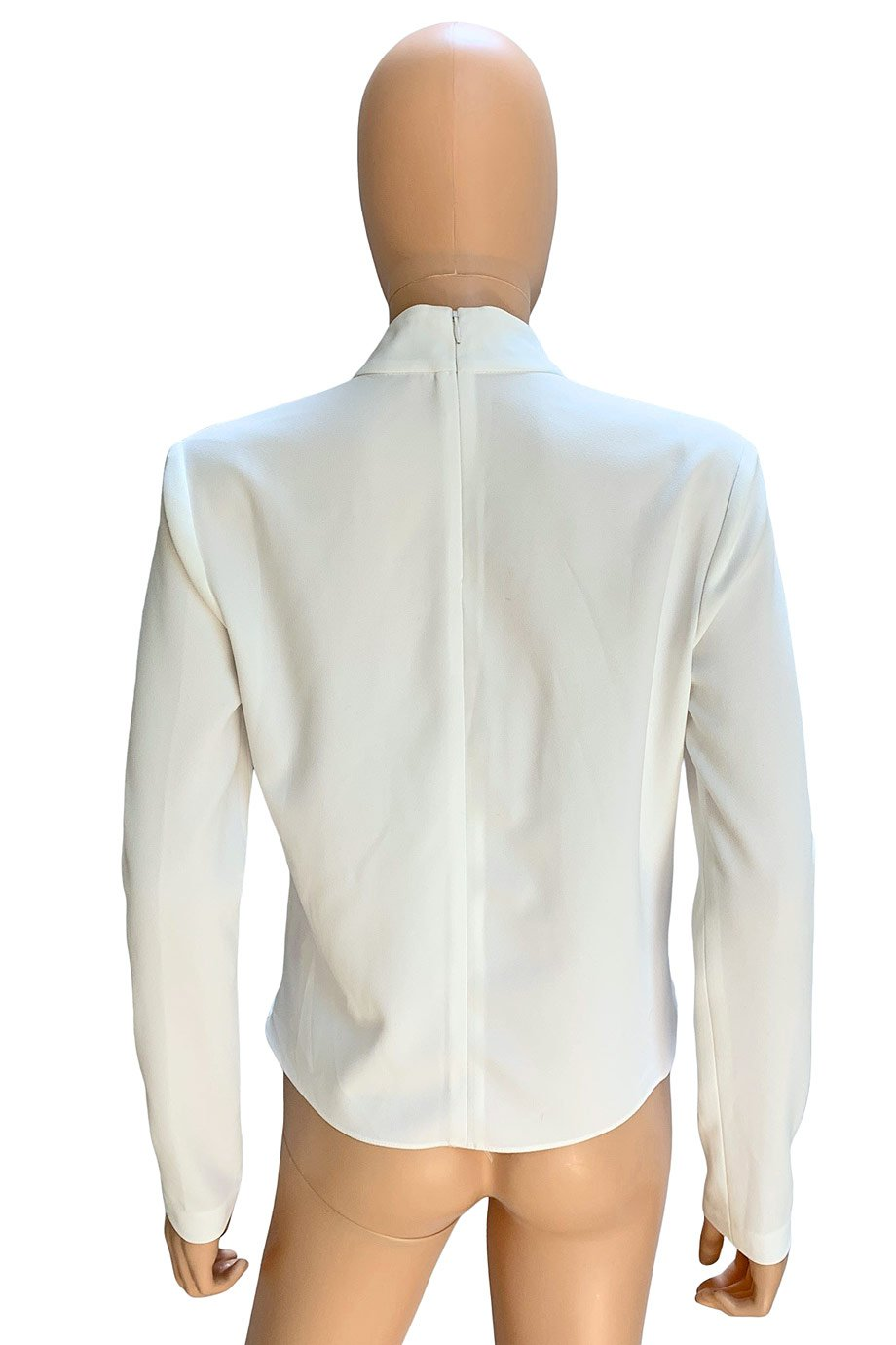 Intermix White Crepe Georgette Long Sleeve Cut-Out Top / Sz P