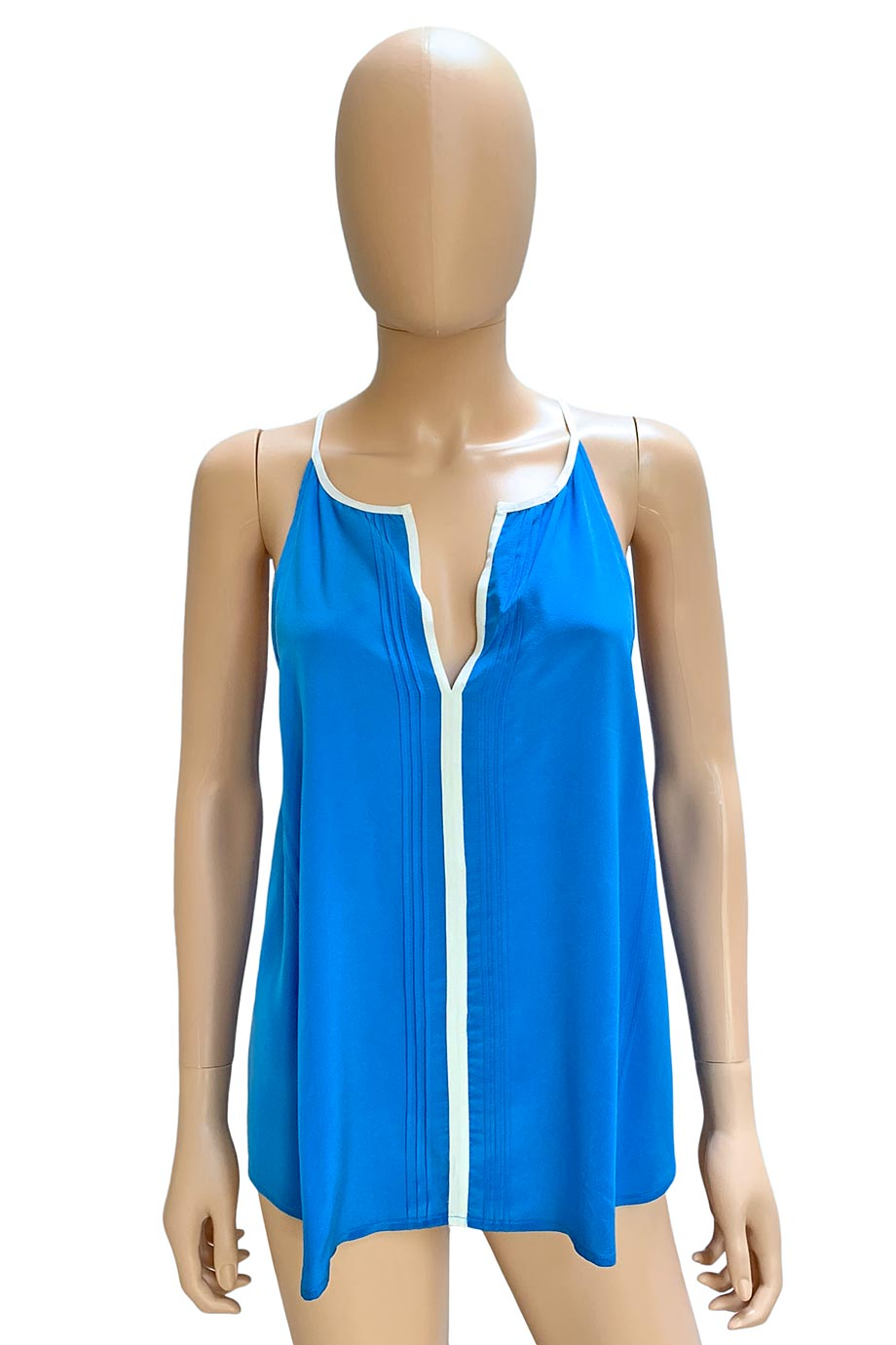 Joie Marine Blue Pleated Silk Odilon Sleeveless Top / Sz M