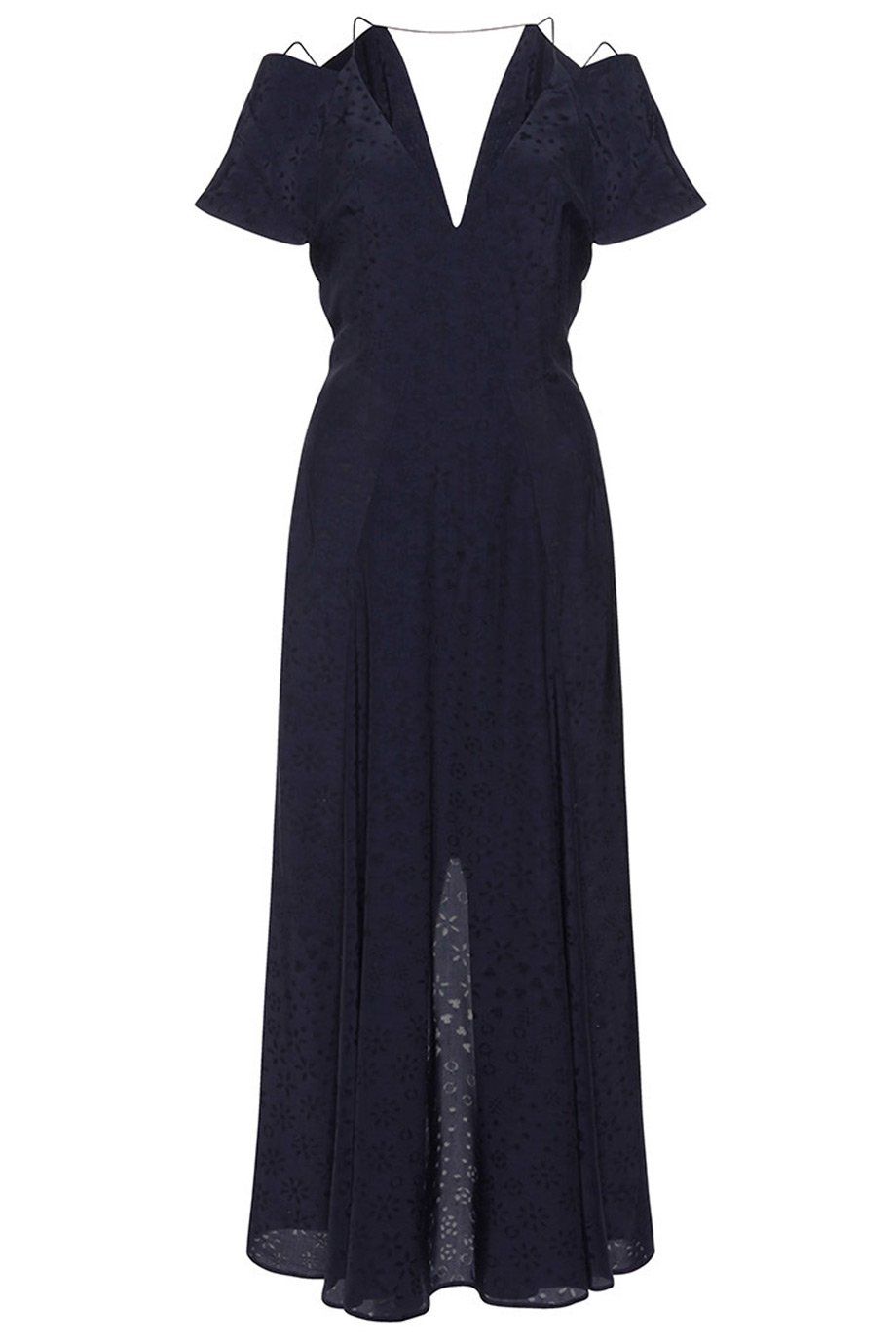 Roland Mouret Navy Jacquard Parry Cold Shoulder Midi Dress / Sz 6