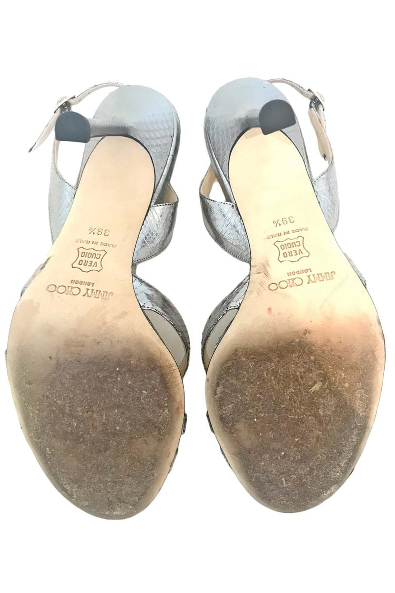 Jimmy Choo Metallic Silver Snakeskin Slingback Sandals / Sz 39.5-Style Therapy