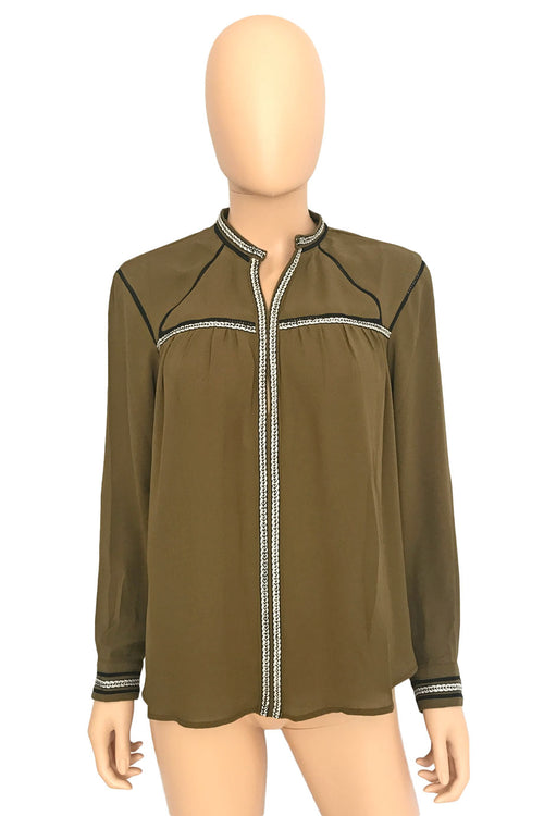 Greylin Olive Green Long Sleeve Blouse + Braided Trim / Sz XS