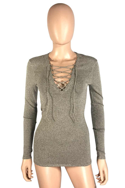 IRO Beige Lace-Up V-Neck Long Sleeve Alida Knit Top / Sz XS