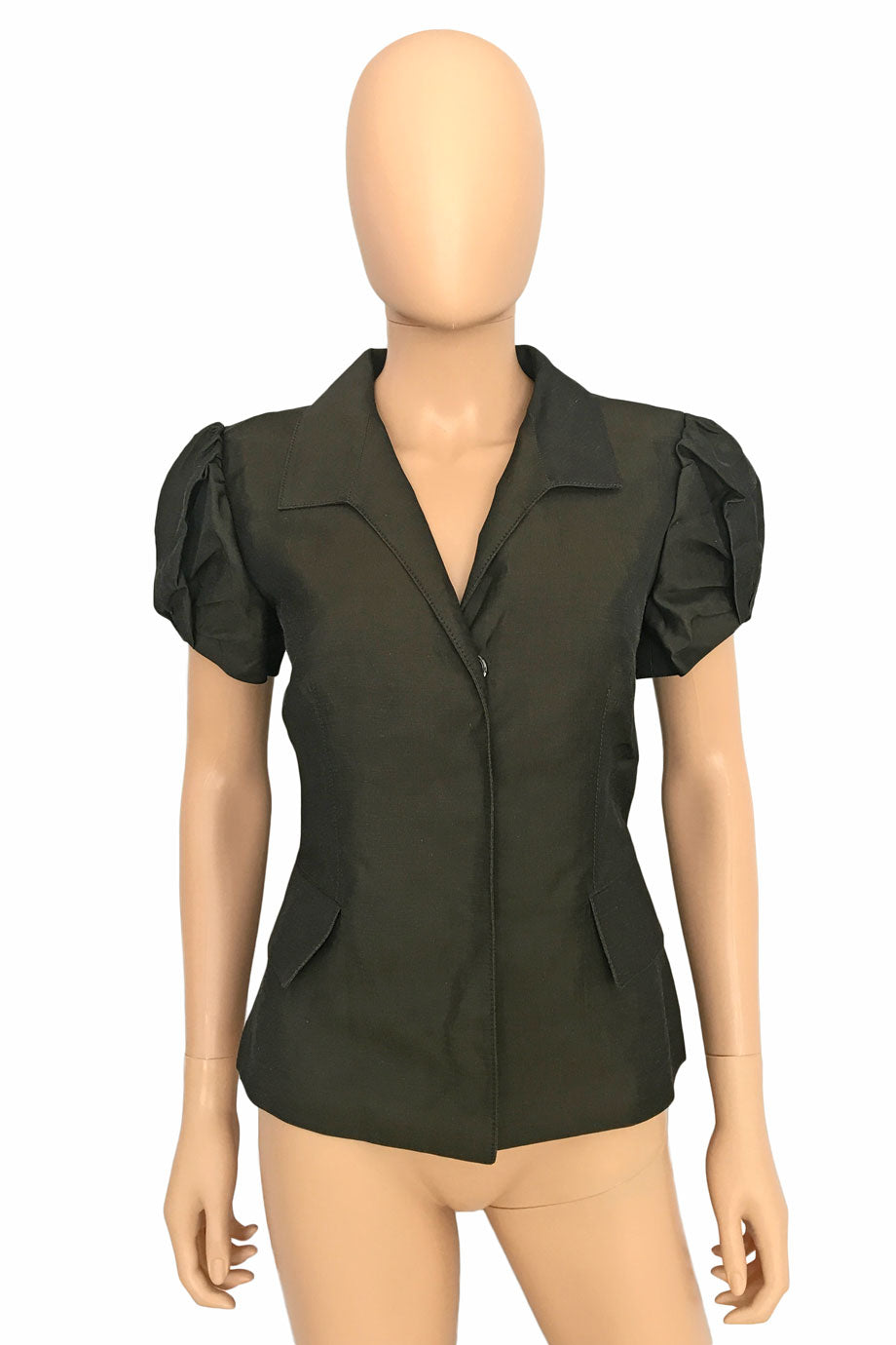 Oscar de la Renta Brown Short Sleeve Shirt-Jacket / Sz 6-Style Therapy