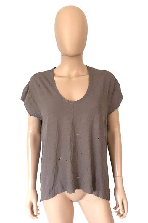 Raquel Allegra Plum Cotton Distressed Short Sleeve T-Shirt / Sz 0