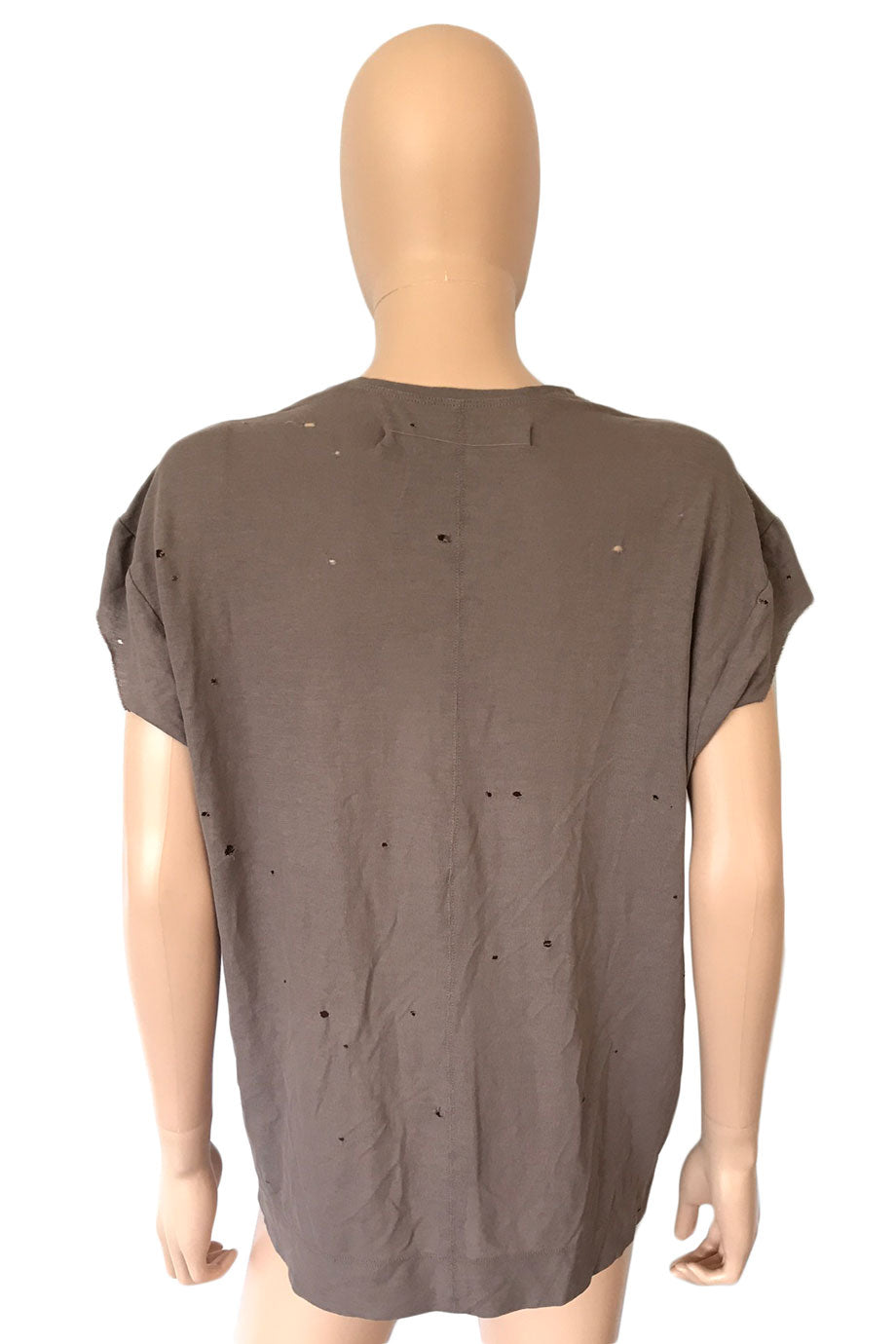 Raquel Allegra Plum Cotton Distressed Short Sleeve T-Shirt / Sz 0-Style Therapy