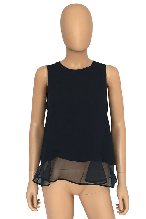 Elizabeth and James Navy Sleeveless Ruffle Hem Tierney Tank / Sz S