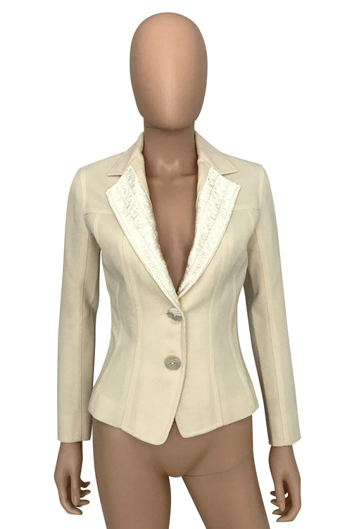 John Galliano 18th Century Ivory Wool Satin Jacket  / Sz 2