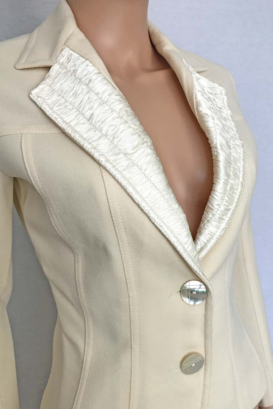 John Galliano 18th Century Ivory Wool Satin Jacket / Sz 2-Style Therapy