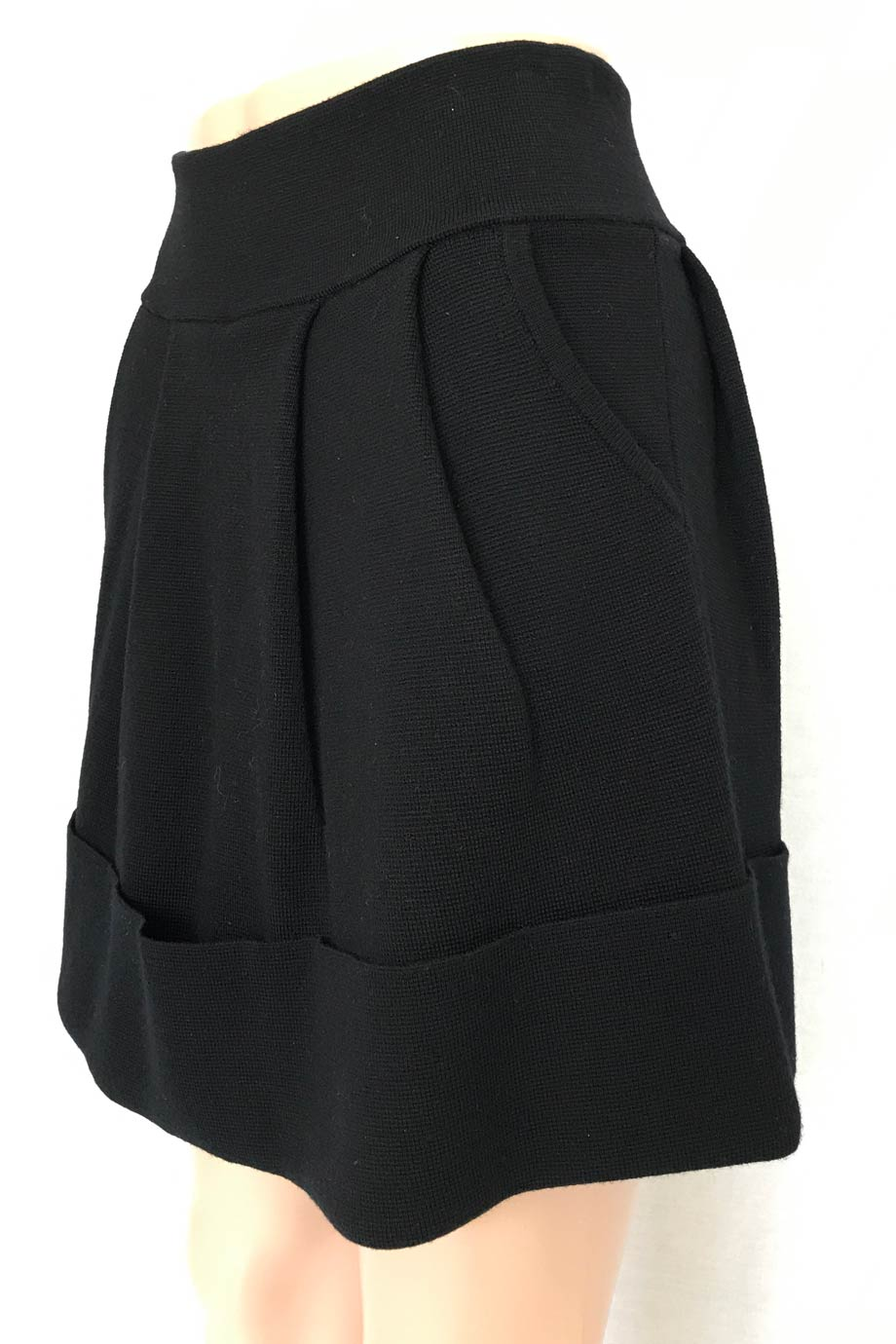Sonia By Sonia Rykiel Black Wool Knit Cuffed A-Line Skirt / Sz XS-S-Style Therapy