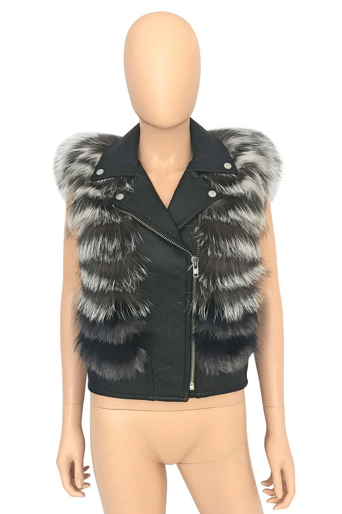 Yigal Azrouel Black Leather + Fox Fur Moto Vest / Sz XS