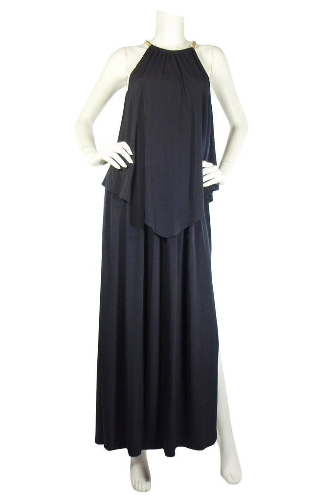 MICHAEL By Michael Kors Chain Detail Navy Jersey Maxi Dress / Sz S - Style Therapy  - 2