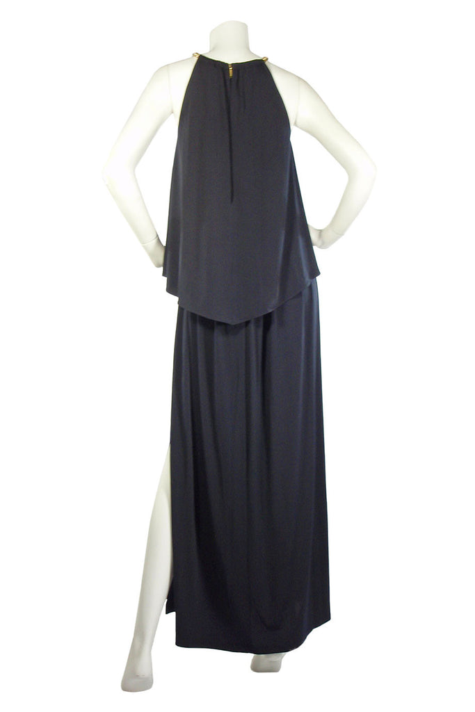 MICHAEL By Michael Kors Chain Detail Navy Jersey Maxi Dress / Sz S - Style Therapy  - 4