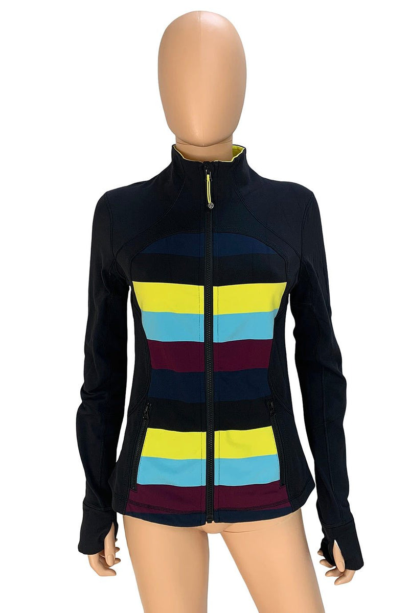 Lululemon Black + Pow Stripe Split Pea Forme Jacket / Sz 6