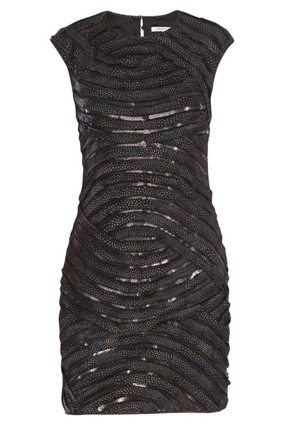 Diane von Furstenberg Sequined Black Satin Dress / Sz 4 - Style Therapy  - 1