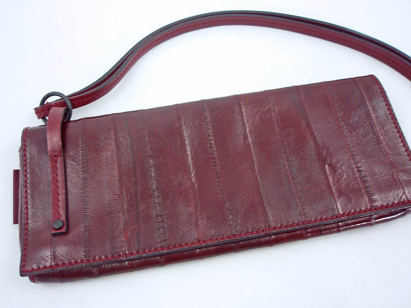 Gucci Sleek Burgundy Red Eel Skin Leather Clutch Bag - Style Therapy  - 3